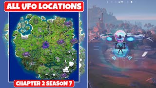 All UFOs Locations in Fortnite Chapter 2 Season 7! - How to Fly a UFO