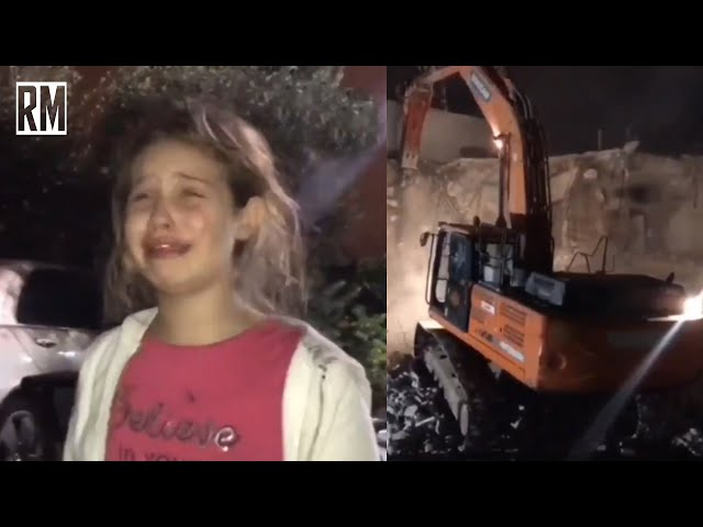 Palestinian Girl Cries as Israelis Bulldoze Her Home