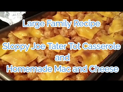 Large family recipe....Sloppy joe tater tot casserole