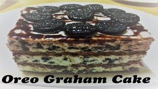 No bake Oreo Graham Cake Cookies Cream graham Cake Ice box Cake
