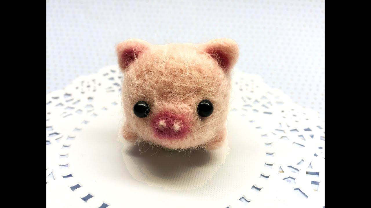 Daiso Baby Pig Plush Diy Needle Felt Tutorial Youtube