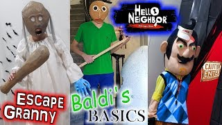 Escape the Babysitter Granny, Baldi's Basics & Hello Neighbor in Real Life Pranked Out of Our House!