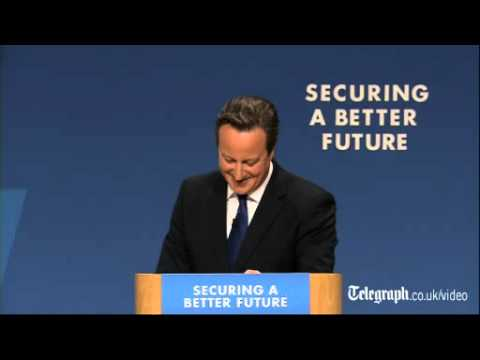David Cameron does an impression of William Hague at Tory conference