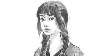 Portrait drawing process [line art]