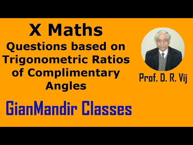 X Maths | Questions on Trigonometric Ratio of Complimentary Angles by Preeti Ma'am