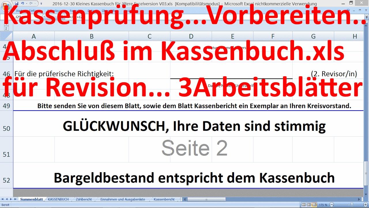 W_0307 =Kassenprüfung =für Revisioren =3 Arbeitsblätter aus ...