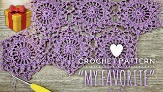 """Мой любимый мотив КРЮЧКОМ """"My Favorite"""" / Шестиугольные мотивы / 🎁РОЗЫГРЫШ пряжи! / Crochet pattern"""