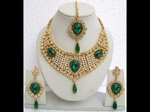 Latest Gold Jewellery Sets With Gems Combination 2017 Dora