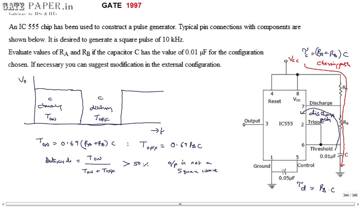 Gate 1997 Ece Generation Of Square Wave Using Ic 555 Timer Youtube The In Monostablemode