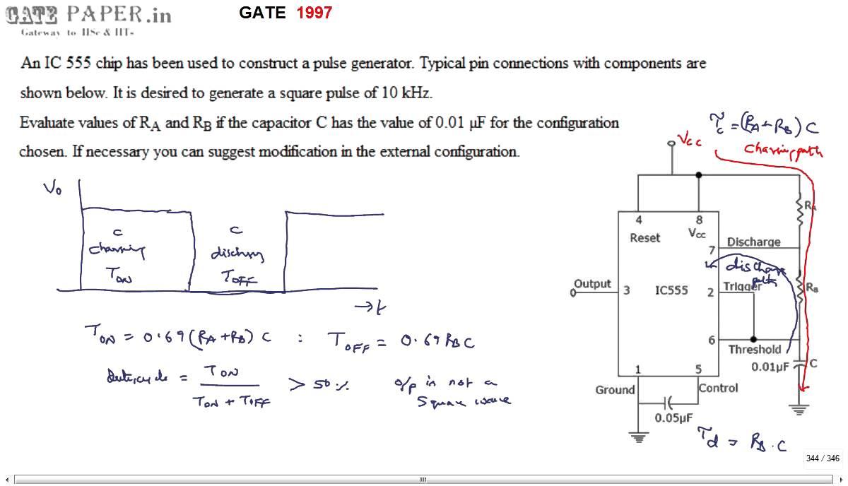 Gate 1997 Ece Generation Of Square Wave Using Ic 555 Timer Youtube Adjustabledutycycle Squarewave Oscillator Circuit Diagram
