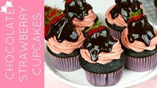 How To Make Chocolate Covered Strawberry Cupcakes // Lindsay Ann Bakes