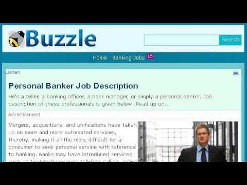 Personal Banker Job Description - YouTube