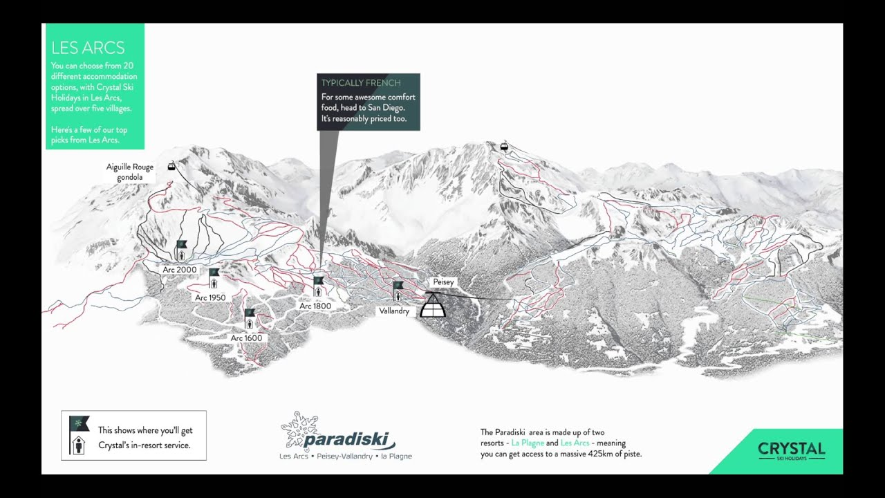 Animated piste map for the Paradiski ski area YouTube