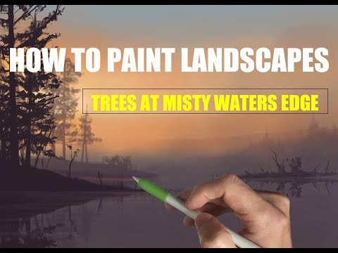 HOW TO PAINT LANDSCAPES MADE EASY:  Trees at waters edge - painting tutorial iPad Pro + Apple Pencil