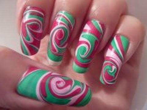 Hd Wallpapers Of Nail Art Christmas Xmas Inspired Swirl Spiral Water Marble Nail Art