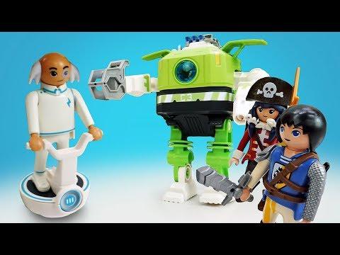 Playmobil конструктор. Фигурки из мультсериала СУПЕР 4 (Суперчетверка) и робот Клеано VS Кинг Конг!