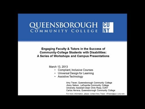 Faculty/Tutor Workshop #2 on Students with Disabilities