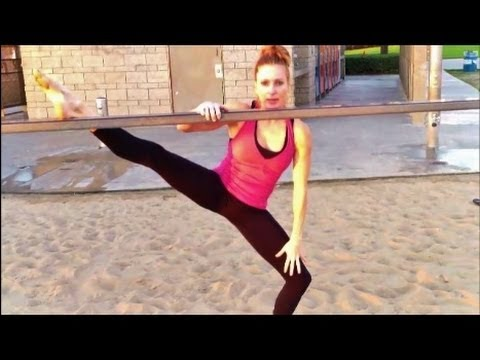 standing stretches for splits shoulder and calf
