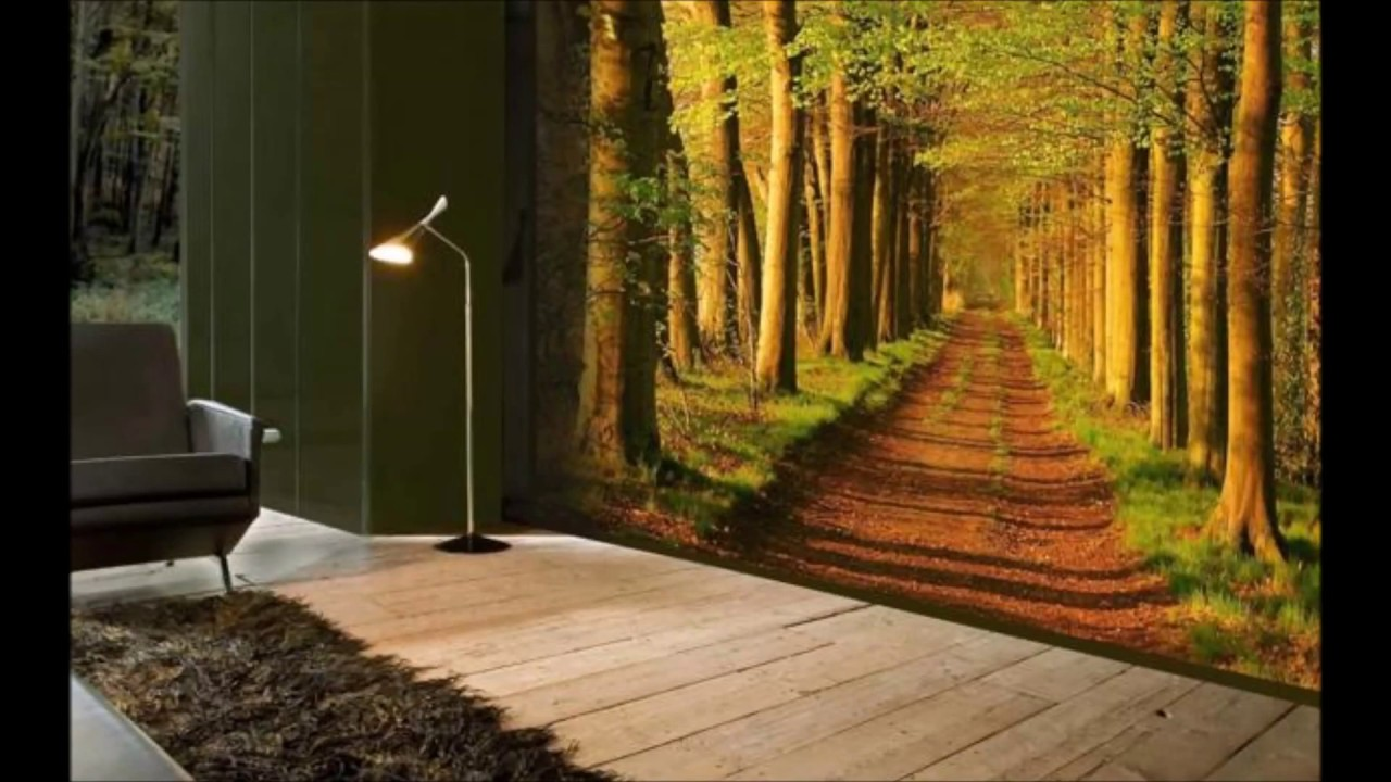 Beautiful nature wallpapers for living room decor youtube for Nature room wallpaper