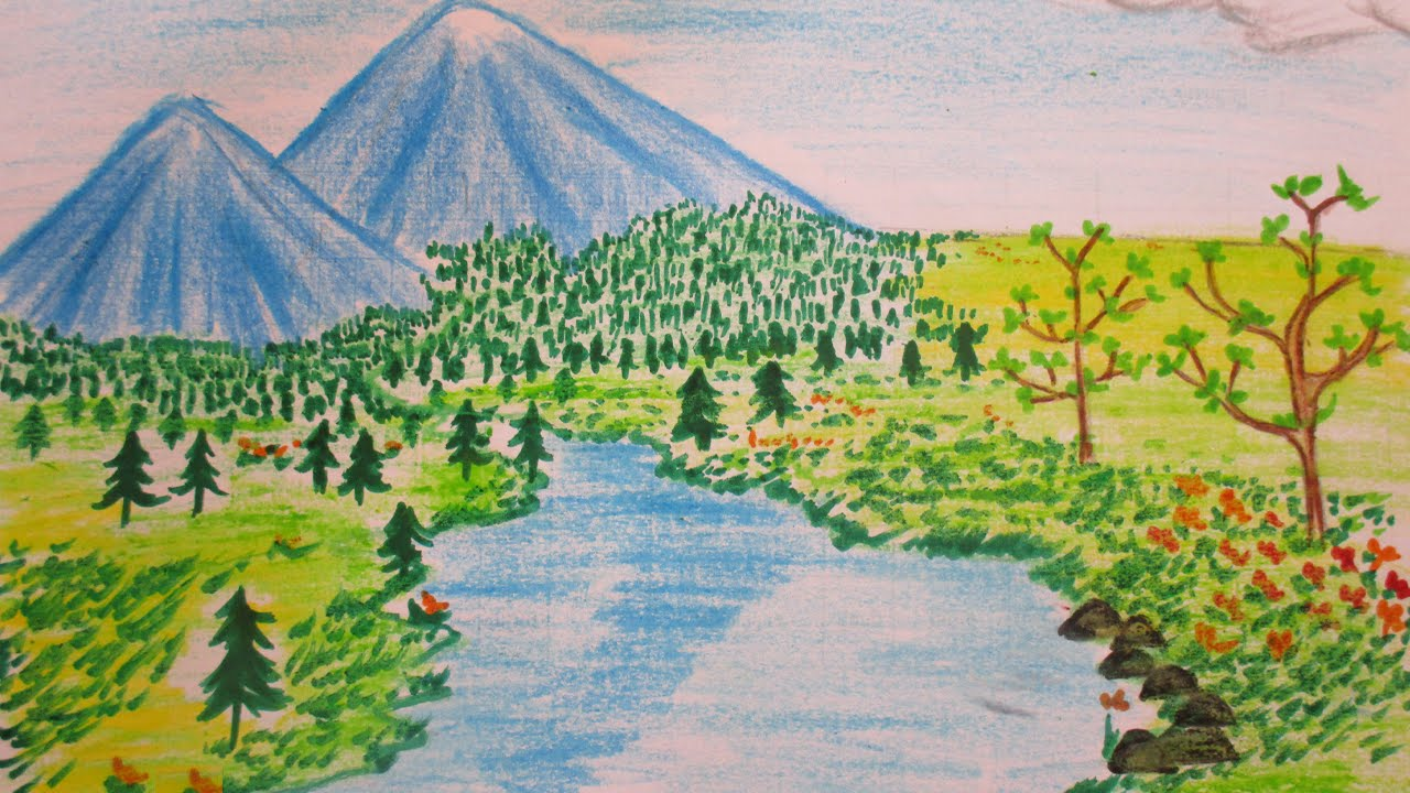 How to draw landscape of a river-mountains-trees and flowers ...