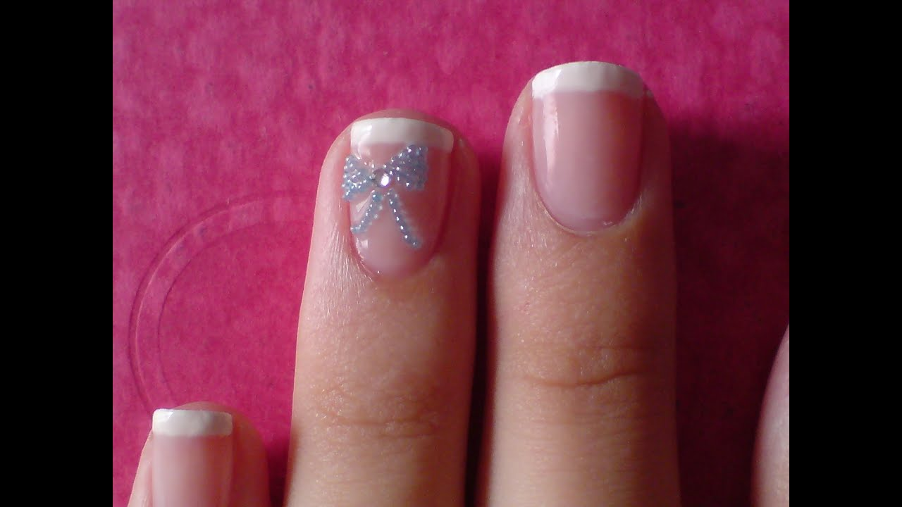 Cute french tip bow nail design youtube prinsesfo Gallery