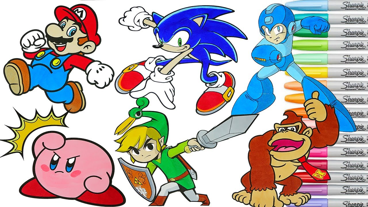 Super Smash Bros Coloring Book Pages Mario Sonic Toon Link Megaman Donkey Kong Kirby Rainbow Splash Youtube