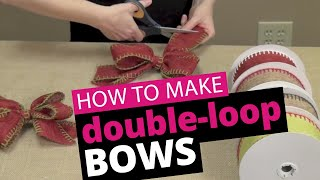 How to tie a double-loop bow, featuring our Burlap Stitch ribbon. P...