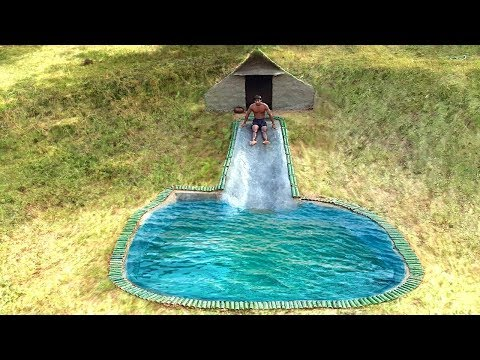 Build the beautiful Cliff Slide  swimming pool