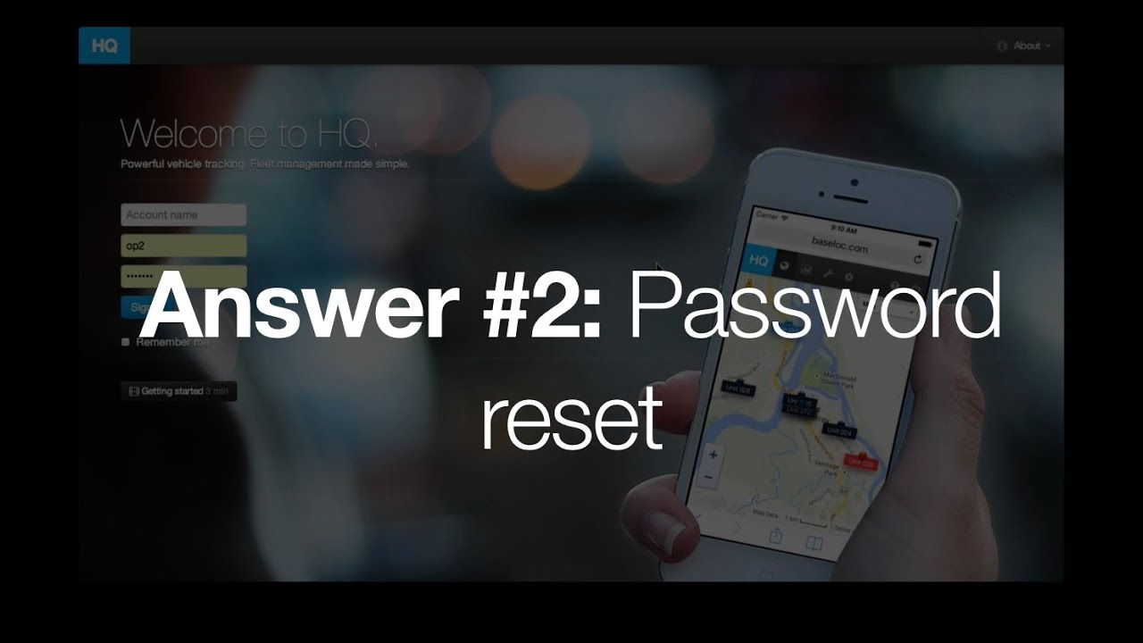 Answer #2: How to reset your password