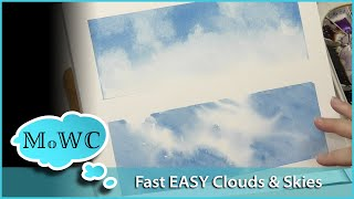 Try These 2 Simple Tricks for Easy Watercolor Clouds!
