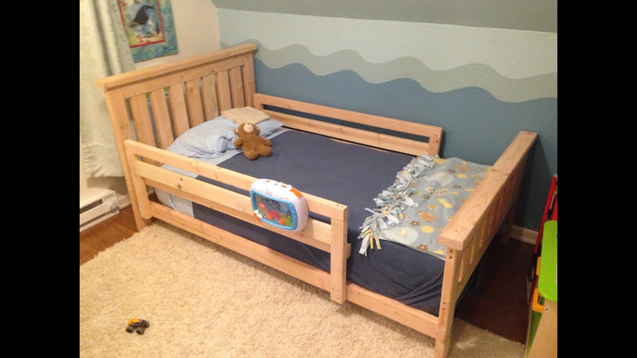 Toddler bed rails toddler bed rails all around youtube for Twin size childrens bed frames
