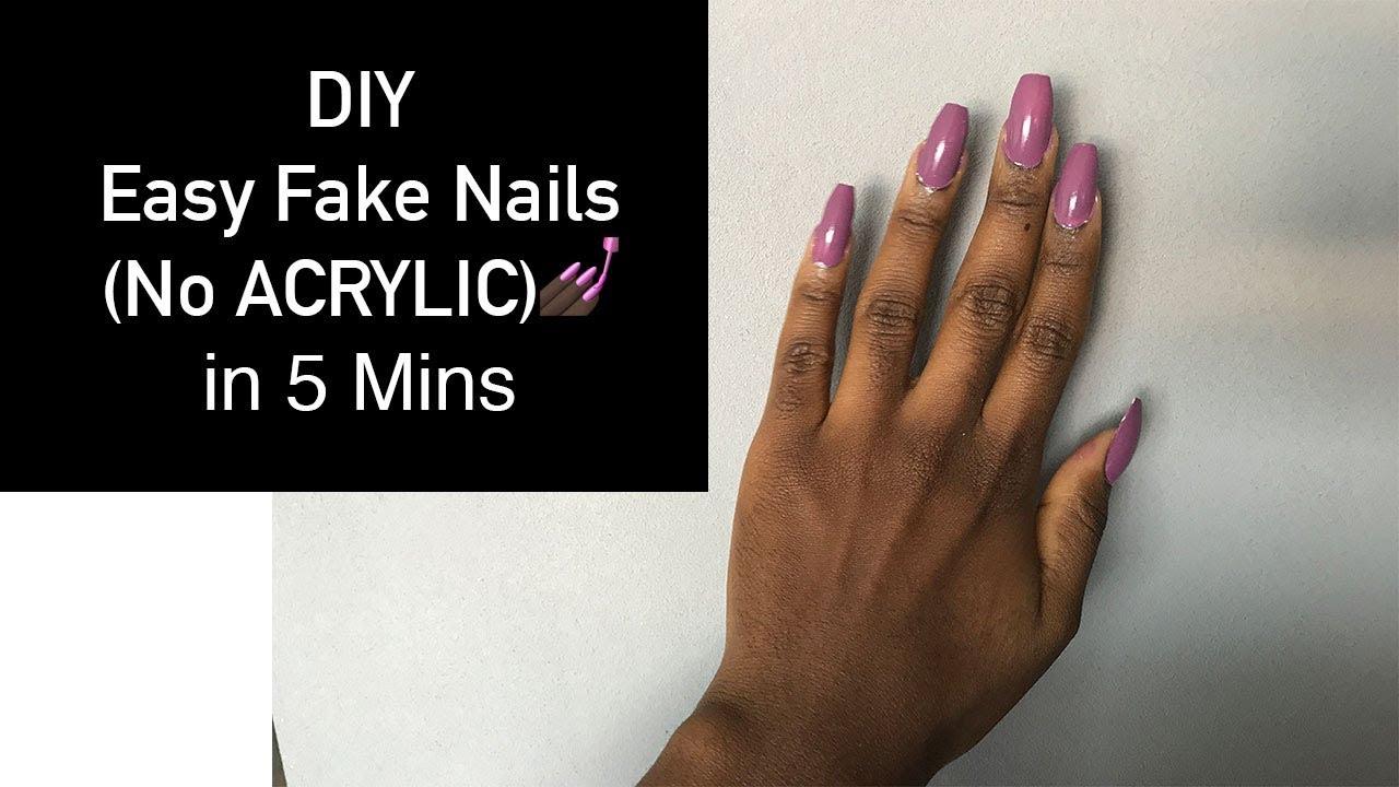 Easy DIY Fake Nails (No Acrylic) Without Nail Glue - YouTube