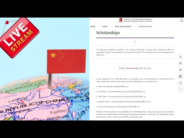 Chinese University of Hong Kong 2021 CUHK Entry Scholarships for International Students in China
