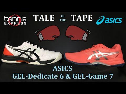 Encantador insulto Escribe email  Comparing ASICS GEL-Game 7 and GEL-Dedicate 6 Tennis Shoes I Tennis Express  - YouTube