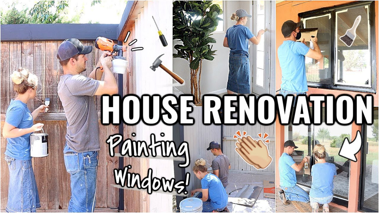PAINTING OUR WINDOWS!!👏🏼 MAJOR RENOVATION OF OUR ARIZONA FIXER UPPER Episode 21