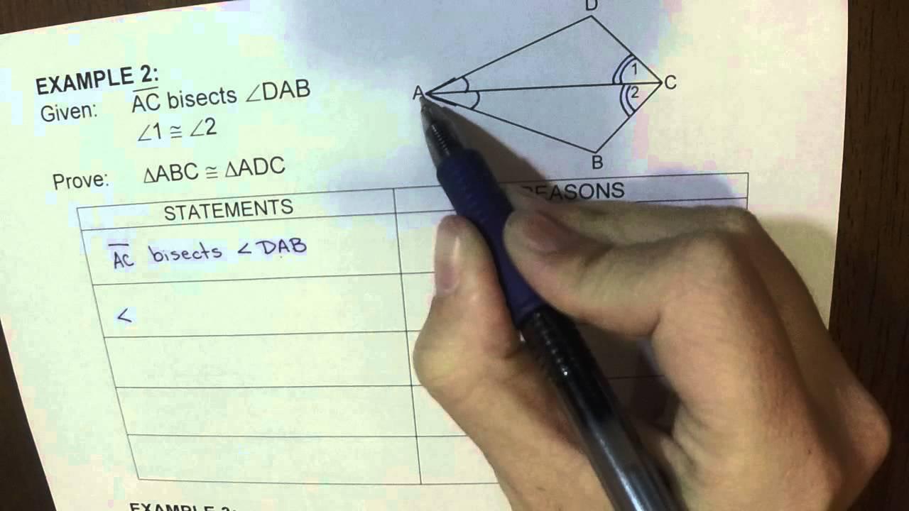 Sss Sas Asa To Prove Triangle Congruent 2 Column Proof