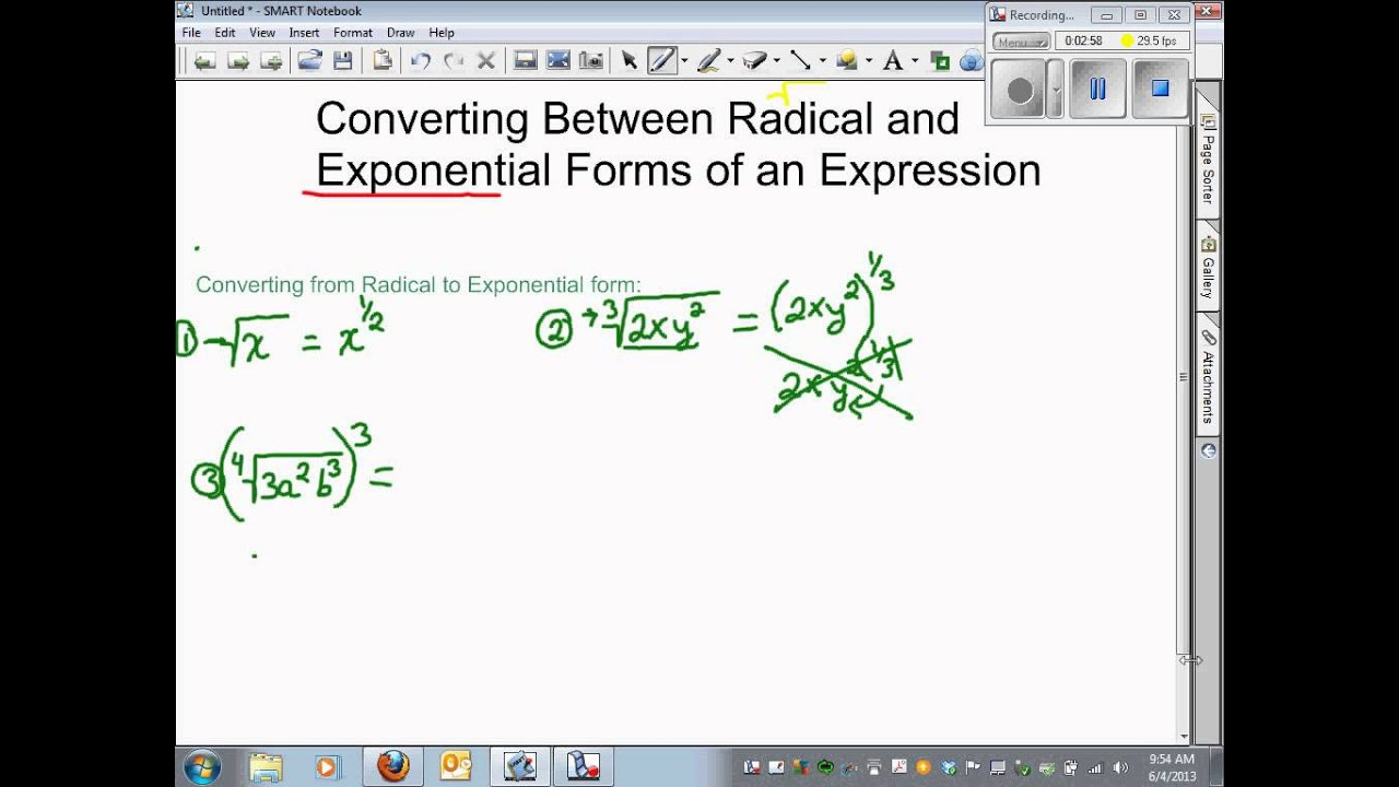Converting between Radical and Exponential Form - YouTube