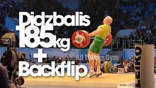 Aurimas Didzbalis 185kg Snatch w/ Slow Motion + Backflip