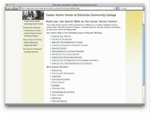 Edmonds Community College: Career Action Center: Create a Basic Resume