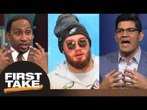 Stephen A. Smith and Tedy Bruschi shut down Lane Johnson's comments on Patriots | First Take | ESPN