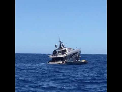Fusion 37m Peri Yacht sinking off Ibiza
