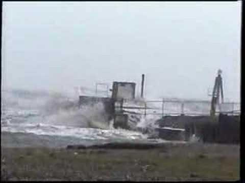 Rye Harbour entrance during storm force 10