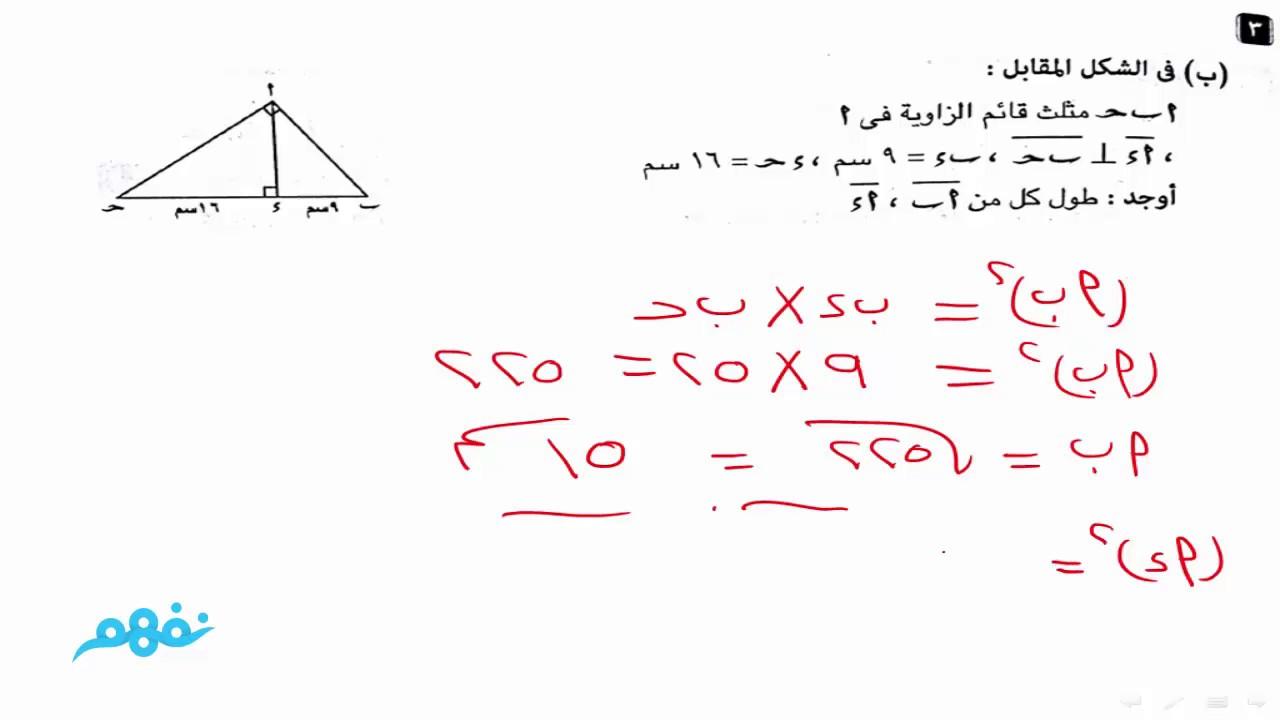 حل نموذج الهندسة للصف الثاني الإعدادي الترم الثاني المنهج