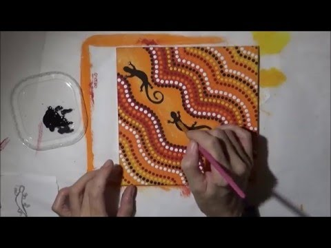 Acrylic Painting Lizard Dot Art Abstract Painting Pawgustart Youtube