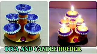DIYA AND CANDLE HOLDER CRAFT/FROM NEWSPAPER/DIWALI SPECIAL
