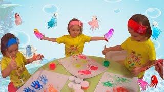 Дети рисуют красками # Творчество с детьми учимся рисовать руками