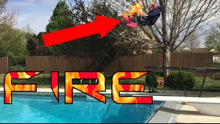 double front flip into pool on fire