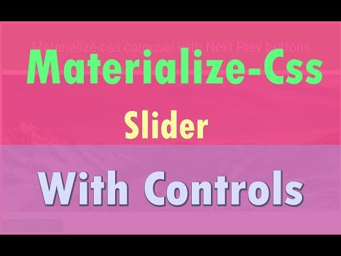 Materialize Css Carousel with Next and Prev control buttons - YouTube