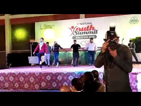 Students of university of Lahore performing Palestine culture dance in National Youth Summit Pakista