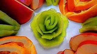 Роза из киви! Как красиво нарезать фрукты! Rose of kiwi! Decoration of fruits!(Как красиво украсить тарелку фруктами! Нам потребуется 1 киви, 1 апельсин и 1 яблоко ( ягоды по желанию). My..., 2015-03-11T17:39:59.000Z)